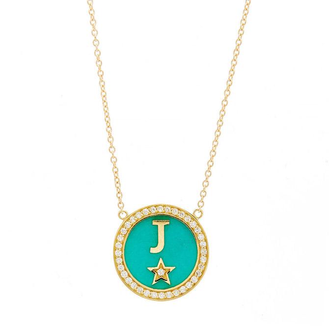 Andrea Fohrman enamel initial necklace