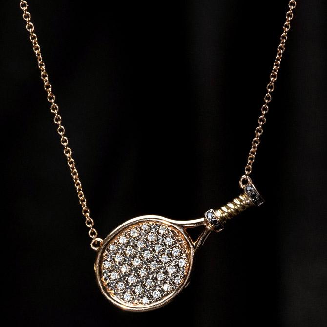 Rosa Van Parys tennis racket necklace