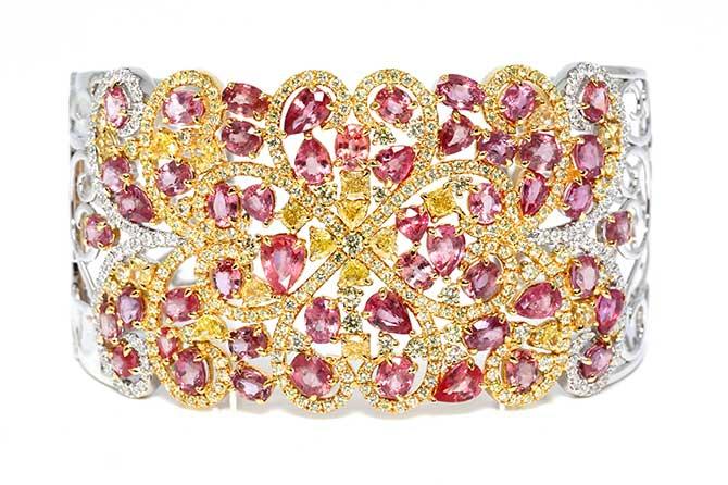 Padparadscha sapphire bracelet