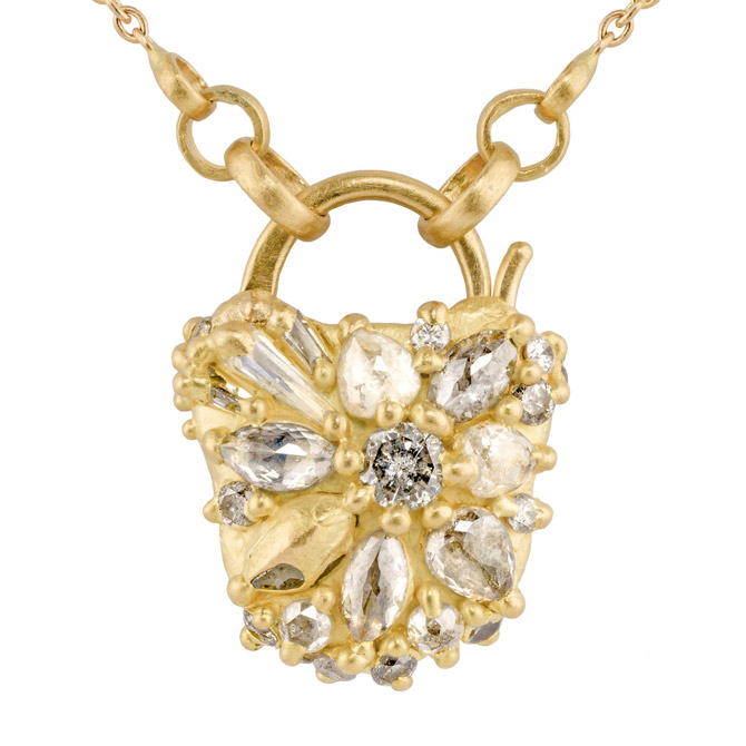 Polly Wales diamond padlock necklace