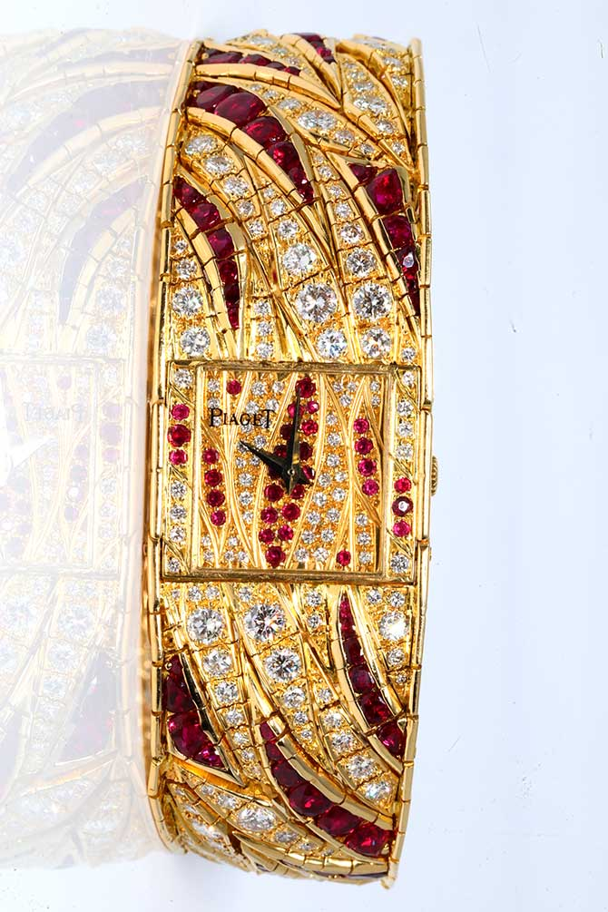 Piaget ruby and diamond polo watch