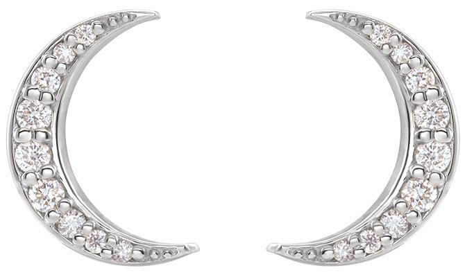 Stuller diamond crescent moon studs