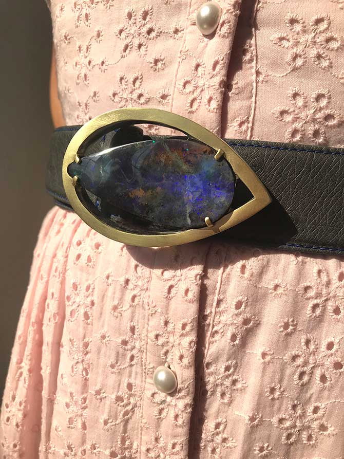 Suzy Landa opal belt buckle