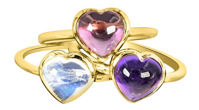 Theresa Kaz carved heart ring set