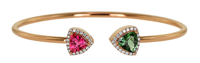 Yael green pink tourmaline bracelet