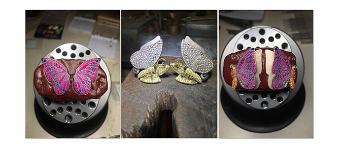 Aucoin Hart butterfly cufflinks work in progress
