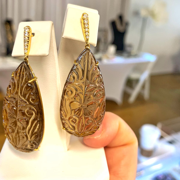 Ri Noor carved smoky topaz earrings
