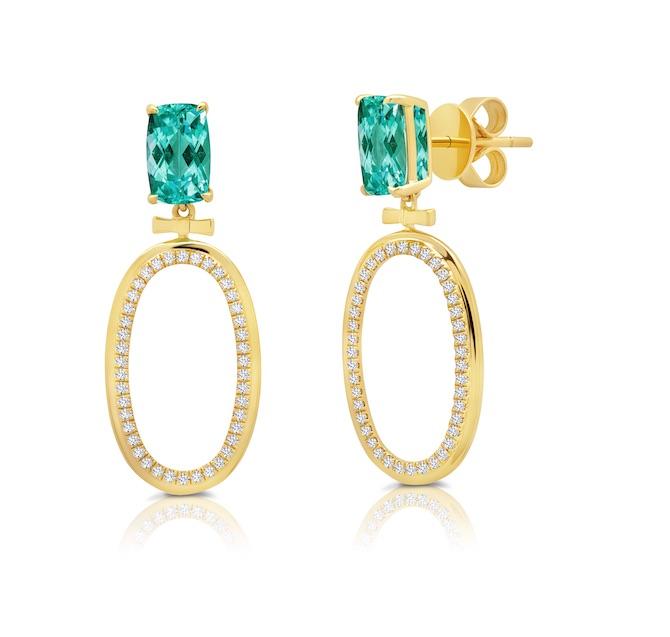 Graziela tourmaline and diamond hoops