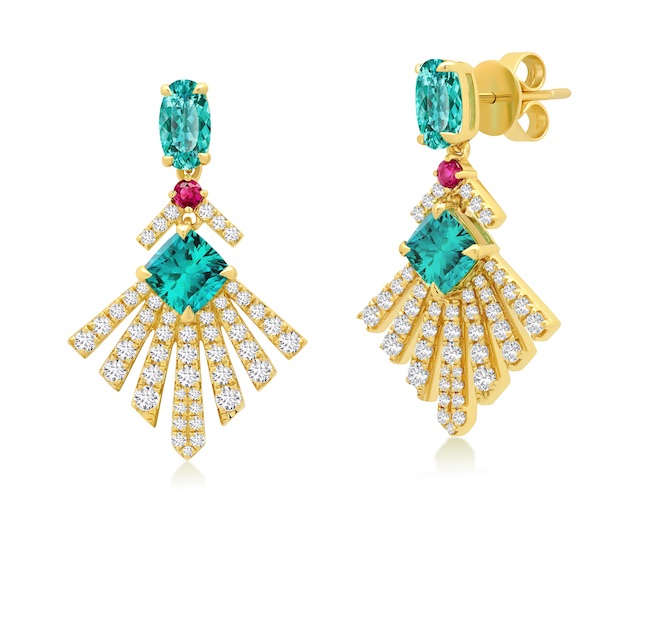 Graziela tourmaline and ruby earrings