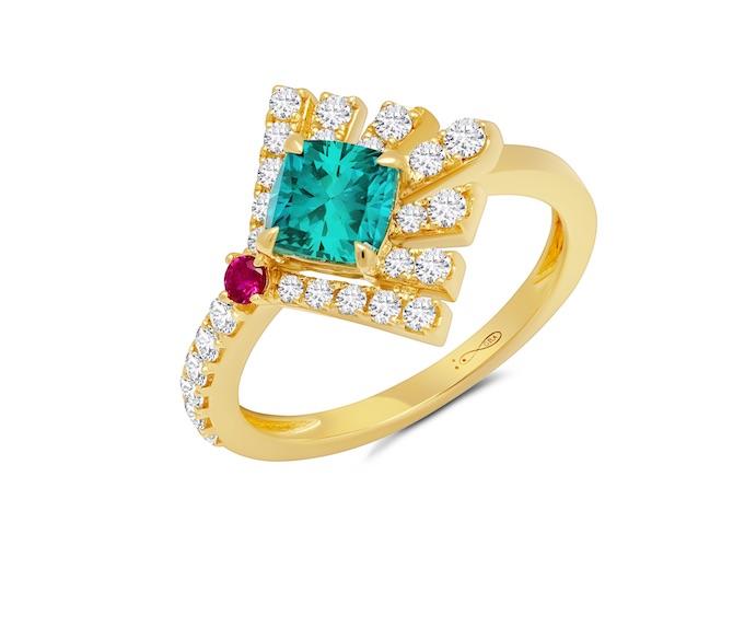 Graziela tourmaline ruby ring