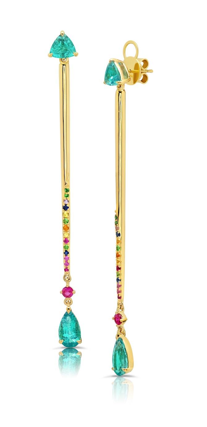 Graziela trillion and pear tourmaline earrings