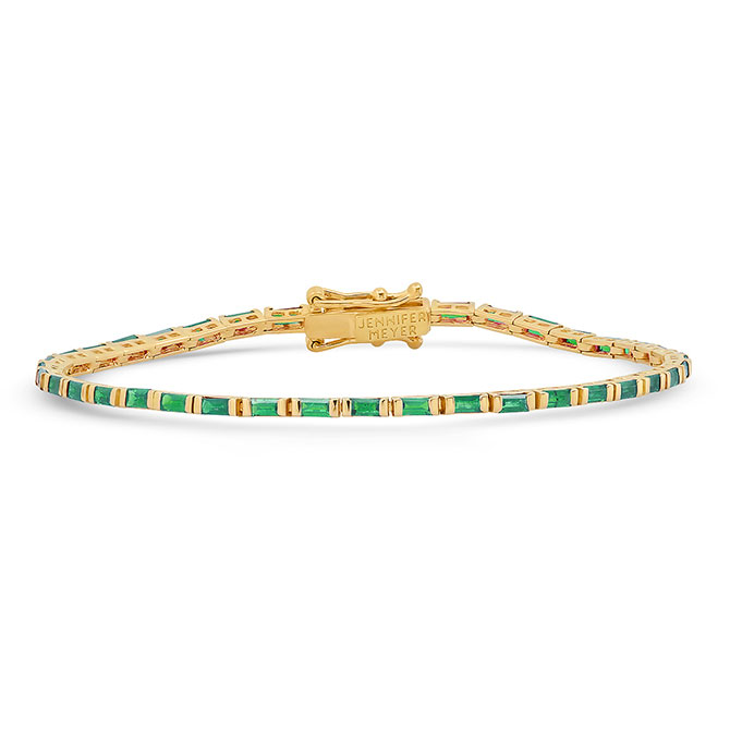 Jennifer Meyer baguette emerald tennis bracelet