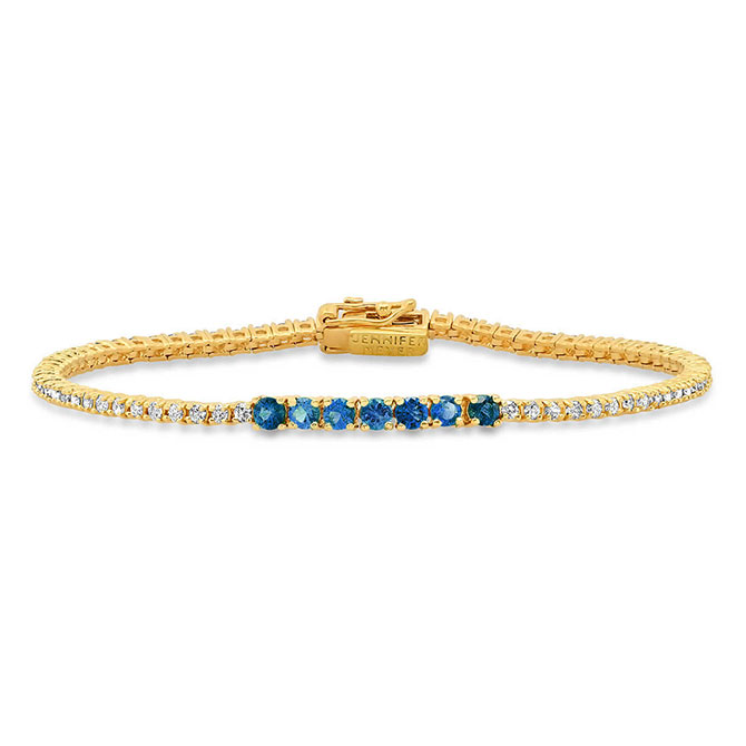 Jennifer Meyer blue sapphire and diamond tennis bracelet