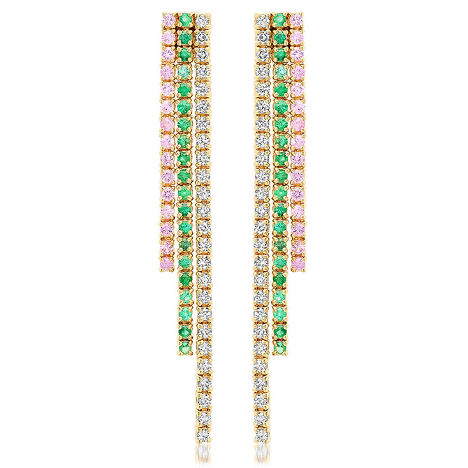 Jennifer Meyer cascade earrings with sapphires and diamonds