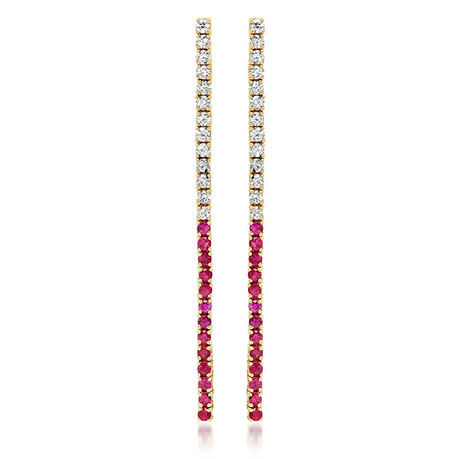 Jennifer Meyer ruby and diamond tennis studs