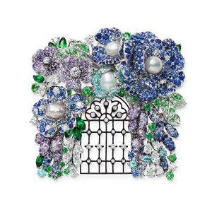 Mikimoto Jardin Mysterieux brooch blue flowers