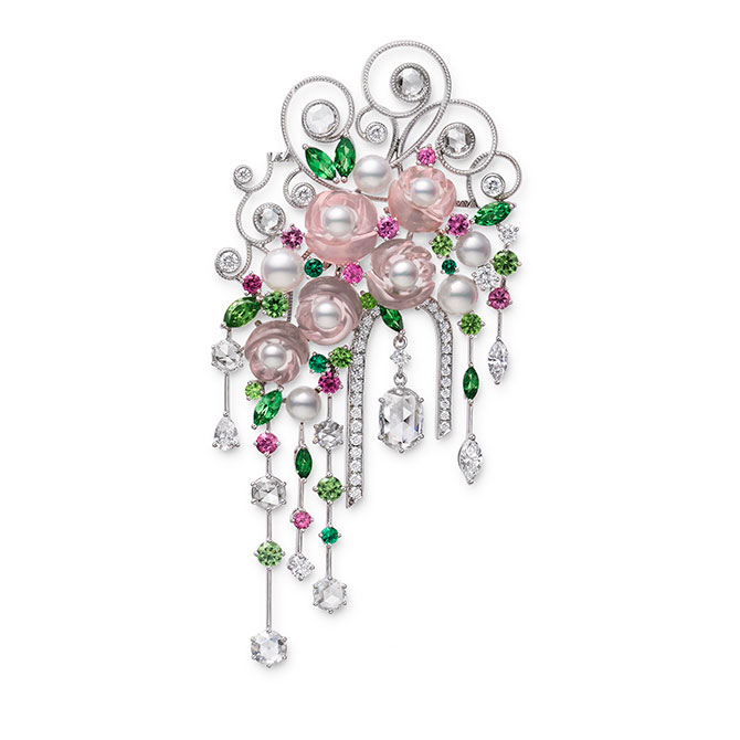 Mikimoto Jardin Mysterieux brooch with pink gems