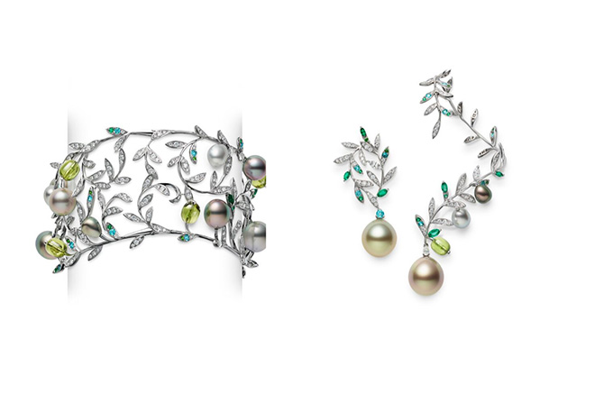 Mikimoto olive tree bracelet and earrings