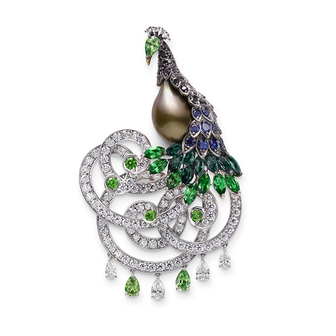 Mikimoto peacock brooch