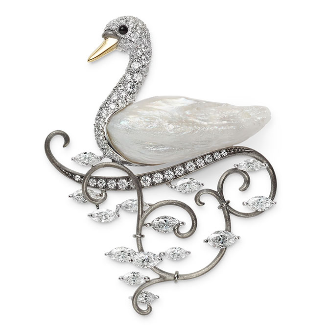 Mikimoto swan brooch
