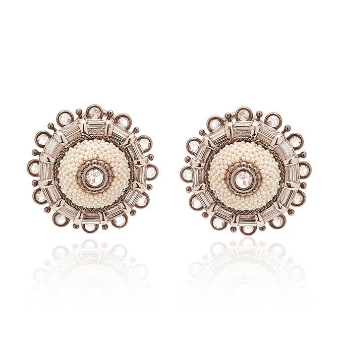 Moksh Taantvi button earrings