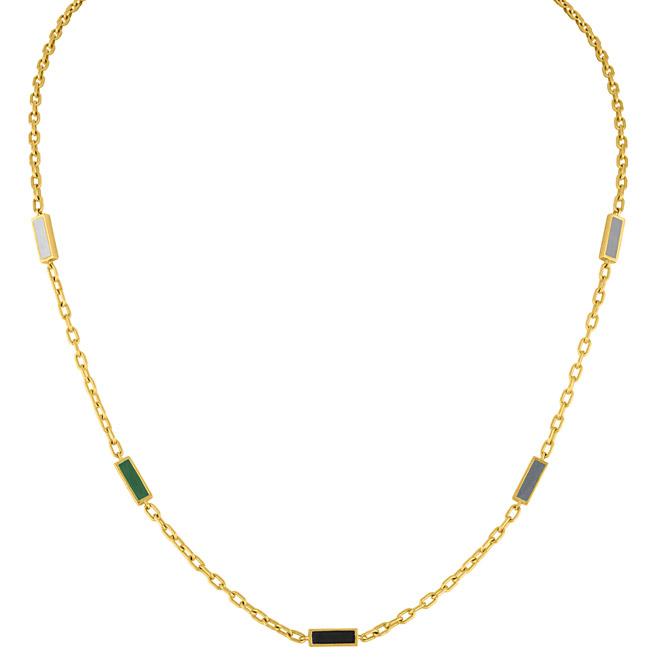 Amy Glaswand enamel five baguette necklace