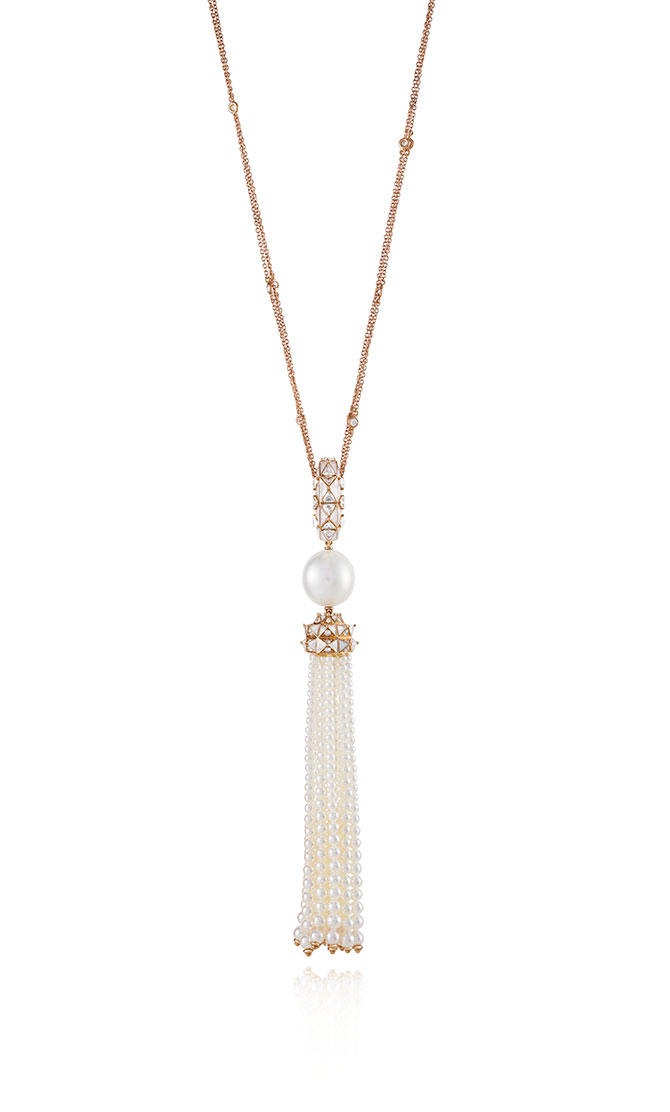 Sarah Ho Candy Trio Pearl Tassel Necklace