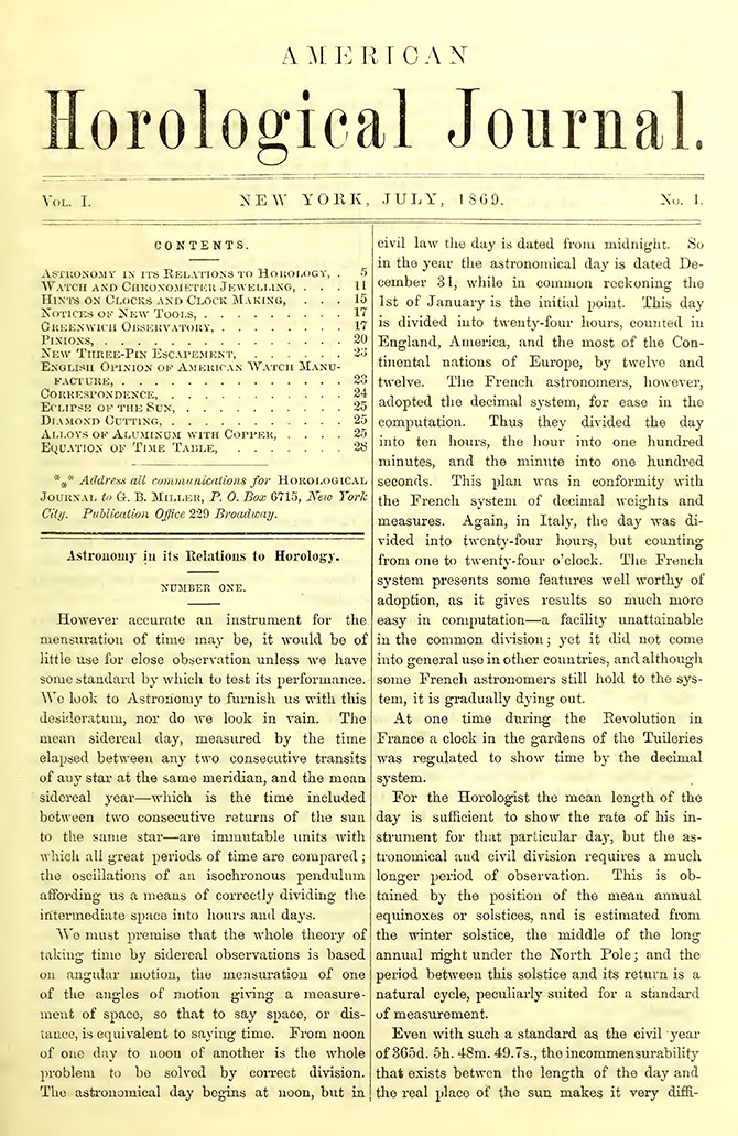 1869 American Horological Journal