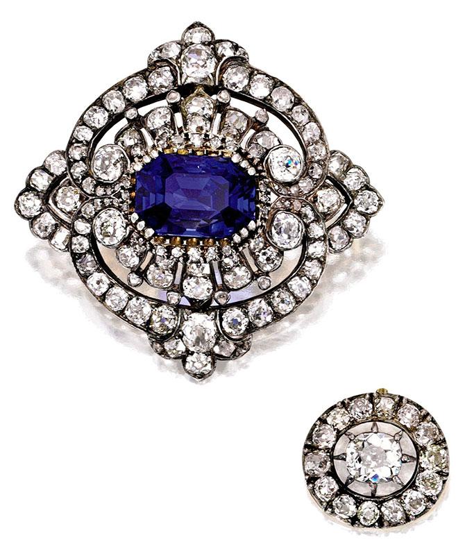 1870 diamond gold silver brooch