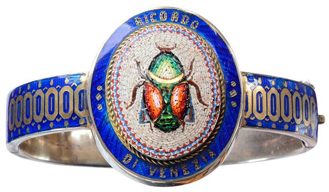 1870 micromosaic scarab bangle