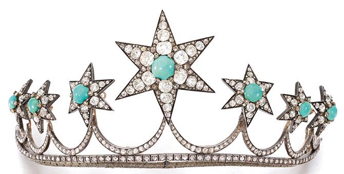 1870 turquoise diamond tiara