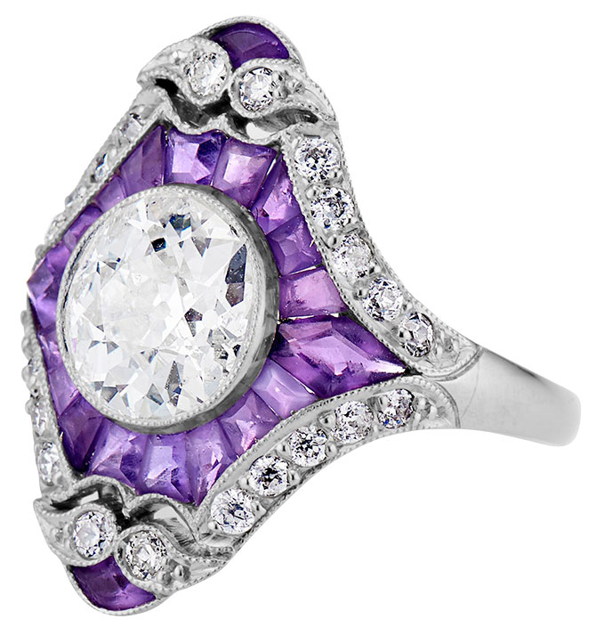 1920s Jewels by Grace amethyst and diamond ring