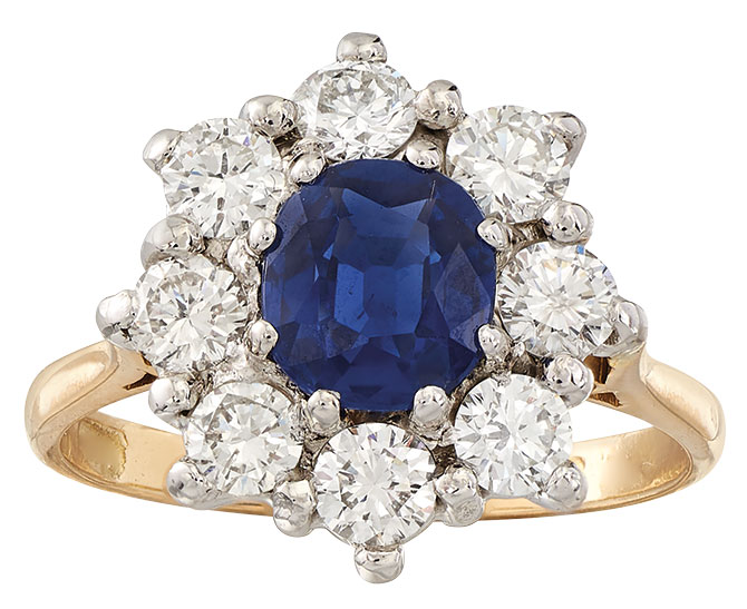 1980s Ross Simons sapphire diamond estate ring