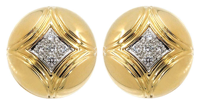 1980s diamond gold dome earrings