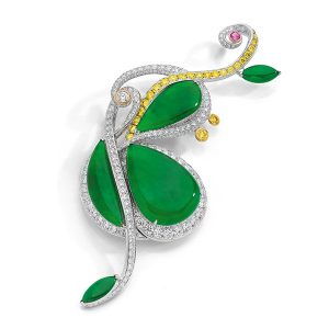 Anna Hu Jadeite Cello brooch