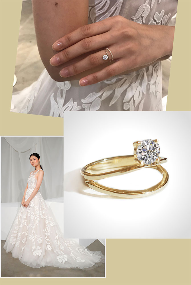 Amsale Imogen gown and KatKim ring