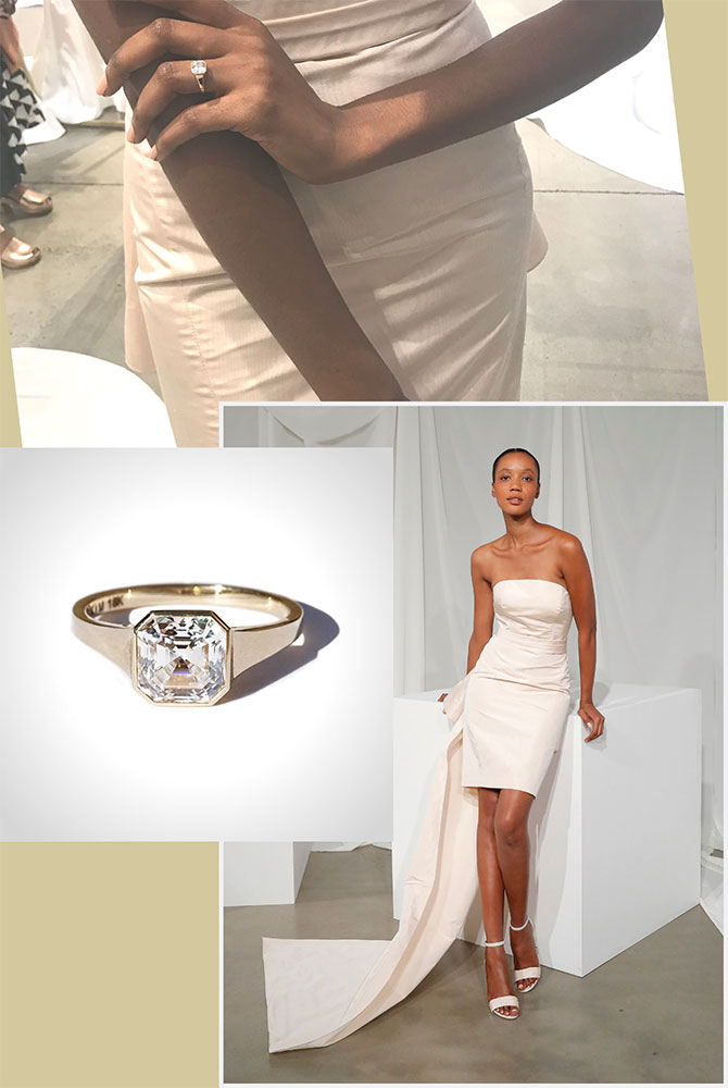 Amsale Marland gown and Katkim ring