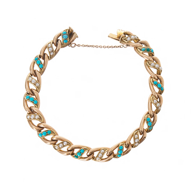 Ariel Gordon Victorian gold and turquoise and pearl bracelet