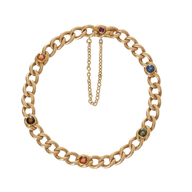 Ariel Gordon vintage multi gem curb bracelet