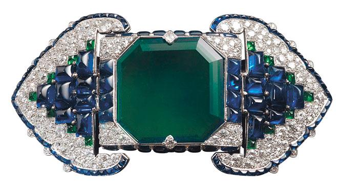 Cartier art deco emerald sapphire diamond brooch