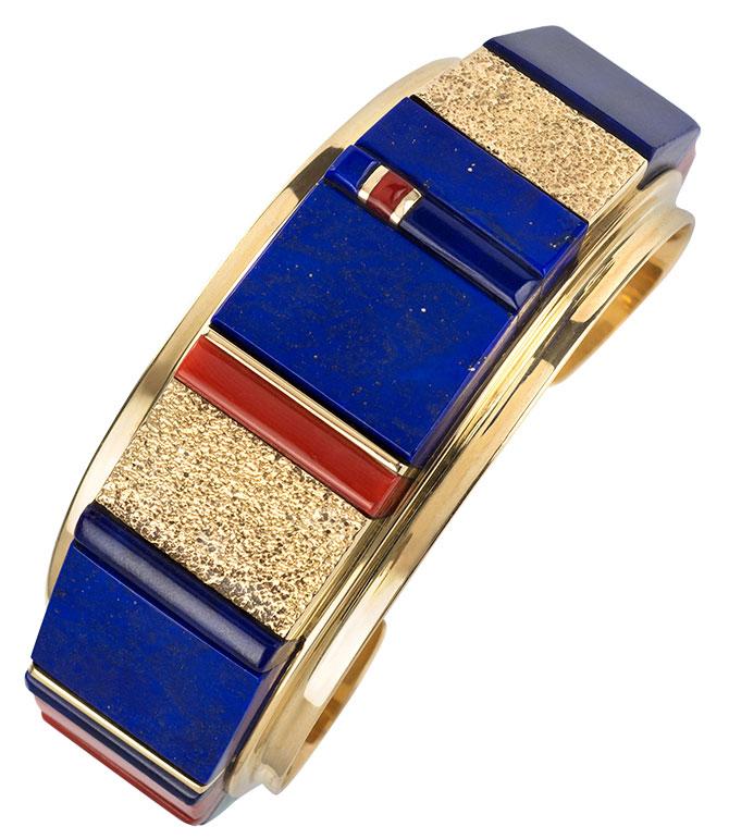 Charles Loloma lapis gold cuff
