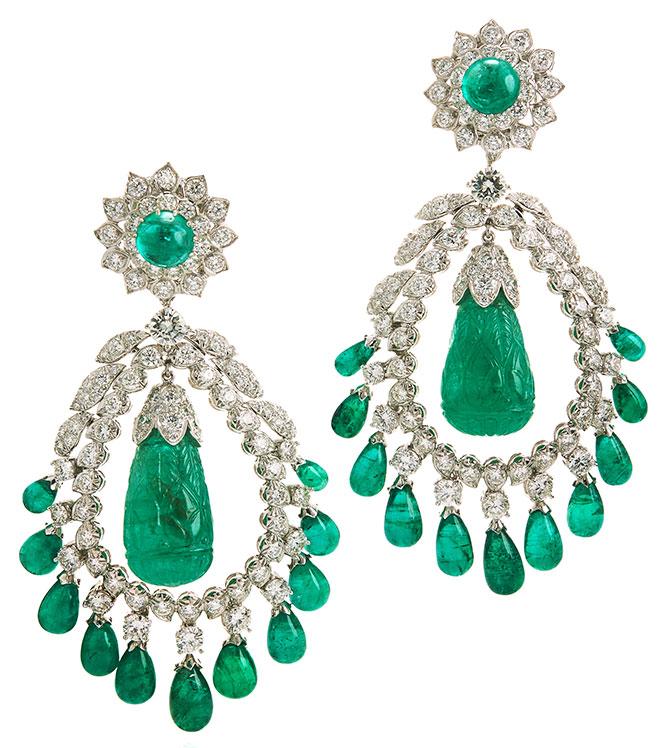 David Webb 1960s Doris Duke emerald earrings