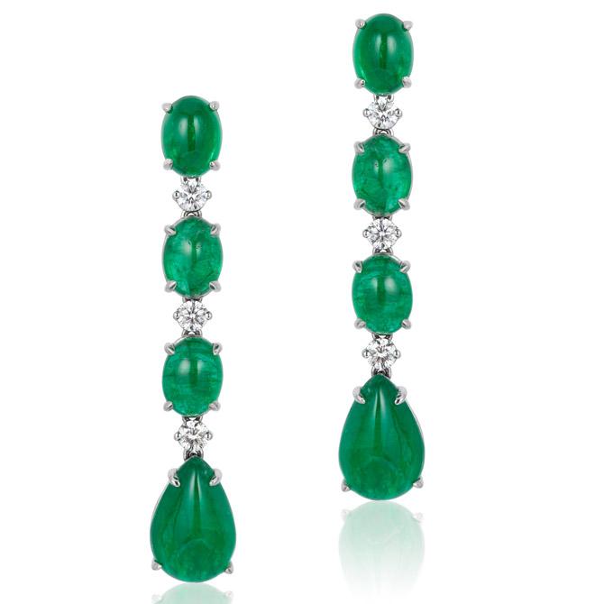 Andreoli emerald line drop earrings
