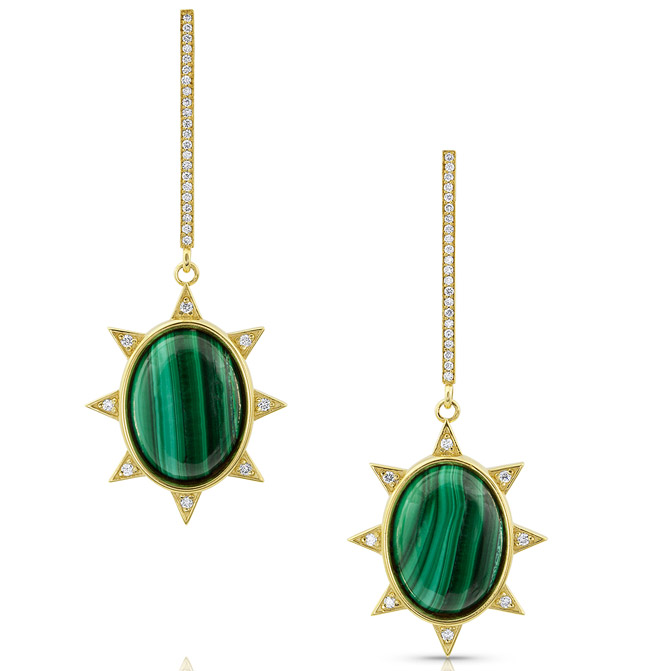 M Spalten malachite Starburst earrings