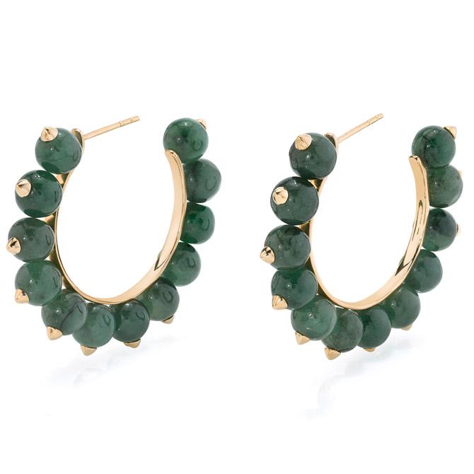 Rosa Van Parys Nikki jade hoop earrings