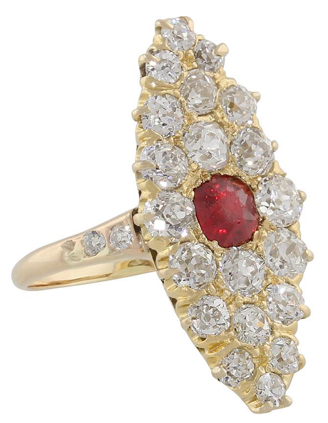 Edwardian spinel diamond ring