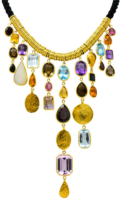 H Stern multi gem bib necklace