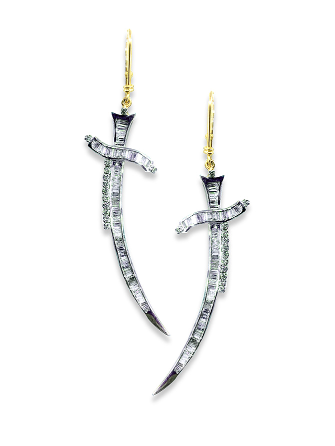 Hanut SIngh Talismanic Dagger earrings