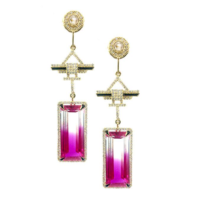 Hanut Singh shaded quartz earrings