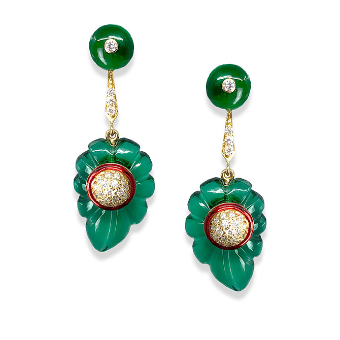 Hanut Singh Carved Leaves earrings